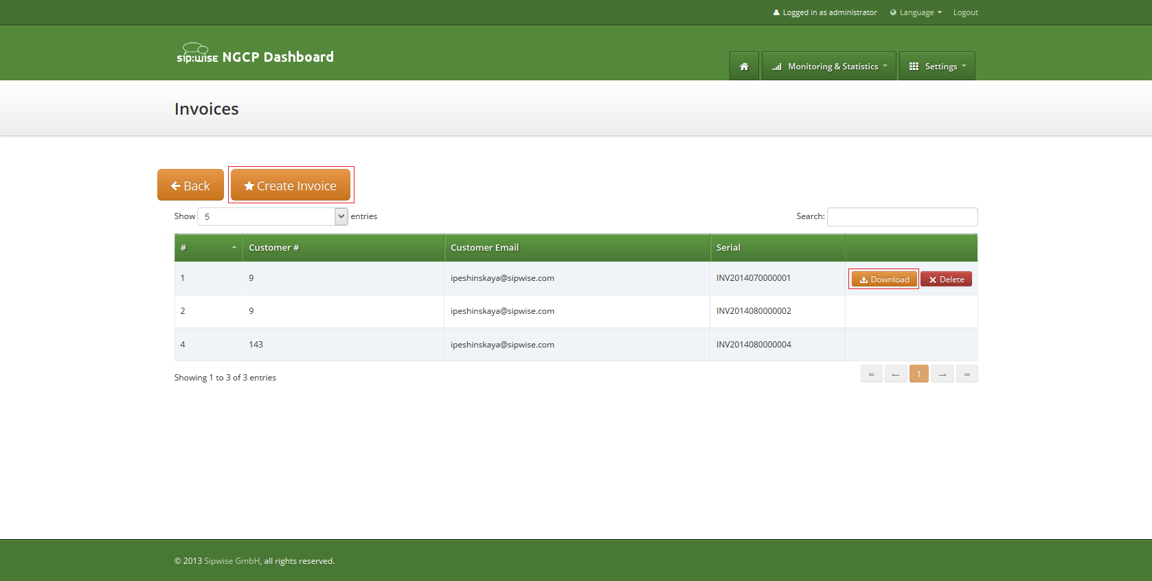 Invoice Management Interface