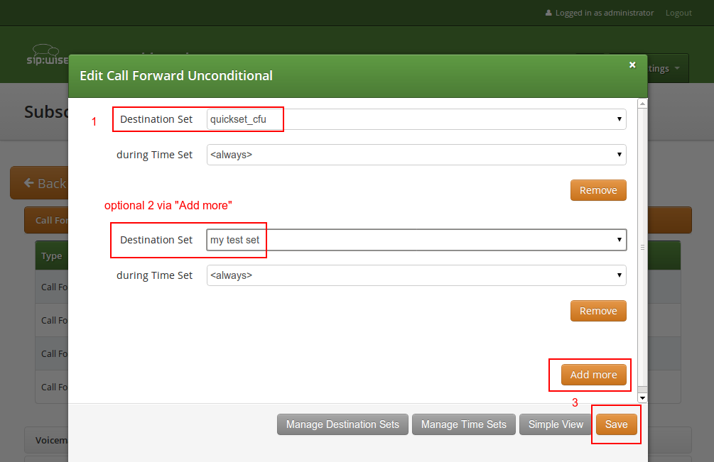 Assign CF Destination Sets 5 Features