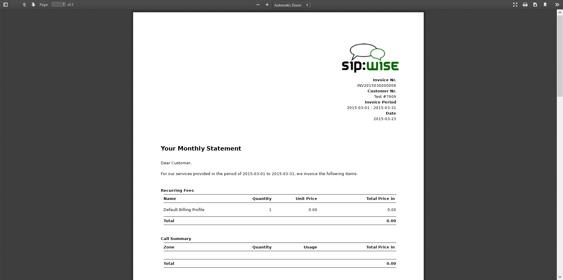 Invoice created view 5 Features