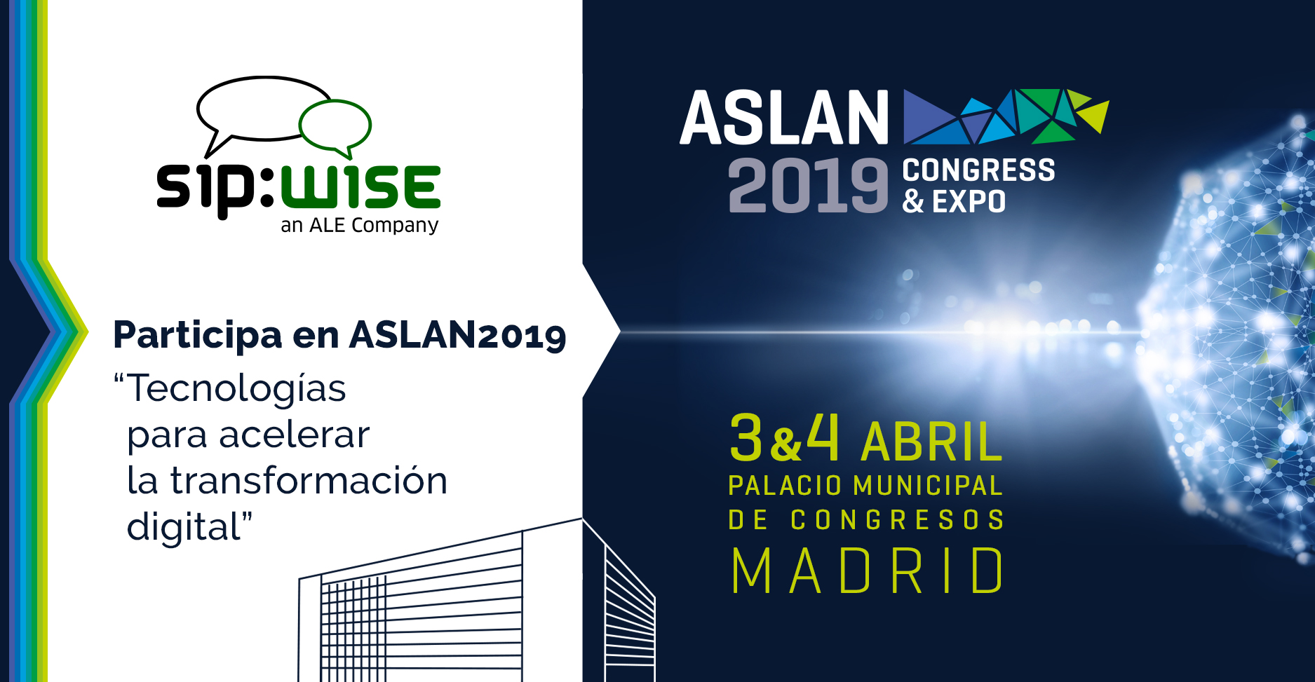 Sipwise will exhibit at ASLAN 2019 on April 3 & 4 in Madrid, Spain.