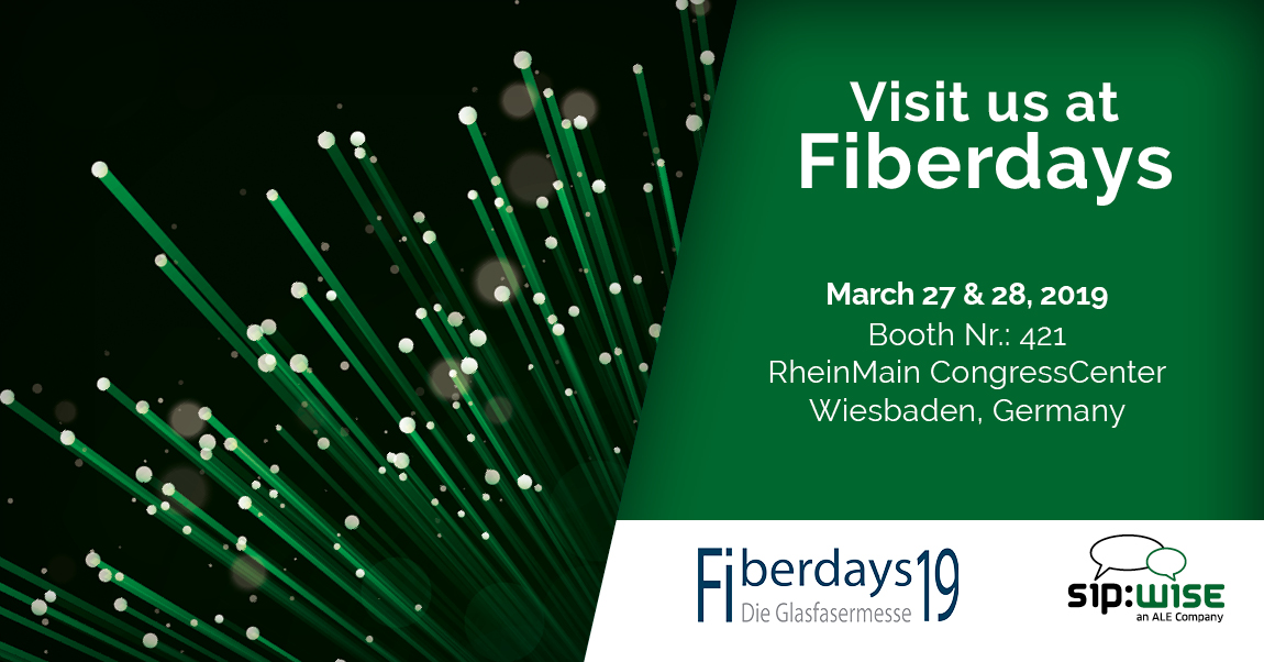 Sipwise exhibits at Fiberdays 2019 on March 27 & 28 in RheinMain CongressCenter Wiesbaden, Germany.